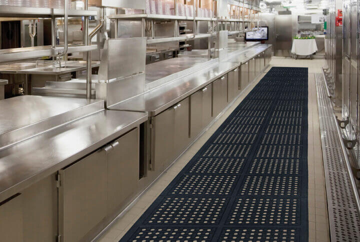 linkable mat in an industrial kitchen