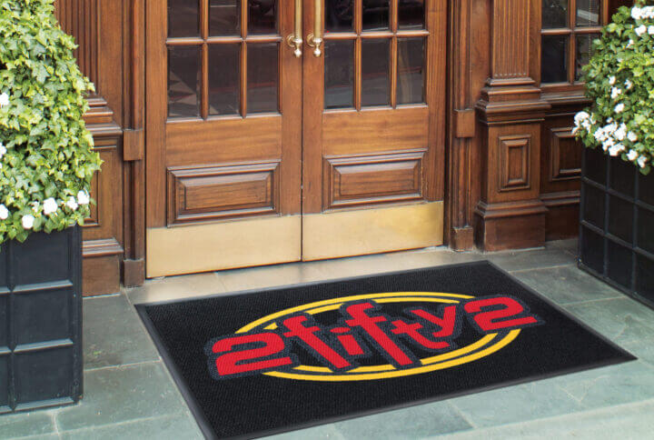 welcome mat featuring a 2 fifty 2 logo