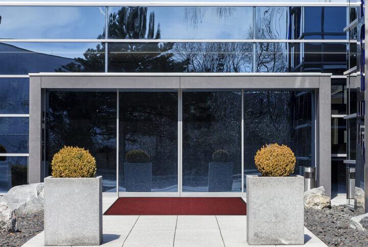 a commercial entranceway featuring a mat
