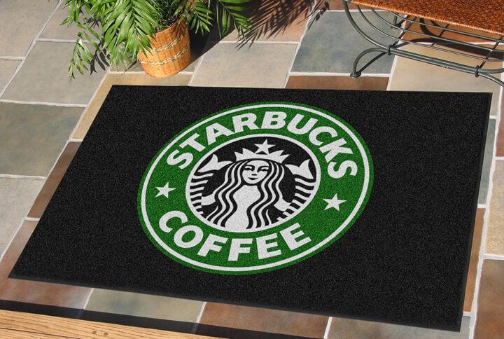 floor mat featuring the Starbucks logo
