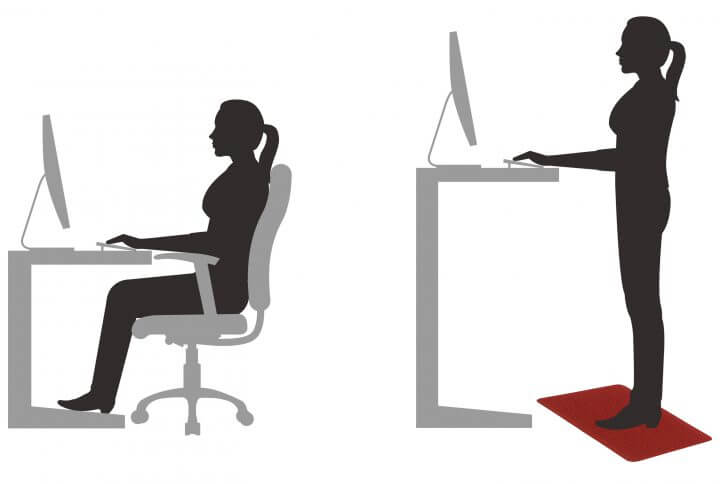 illustration of a woman sitting at a desk and a woman at a standing desk