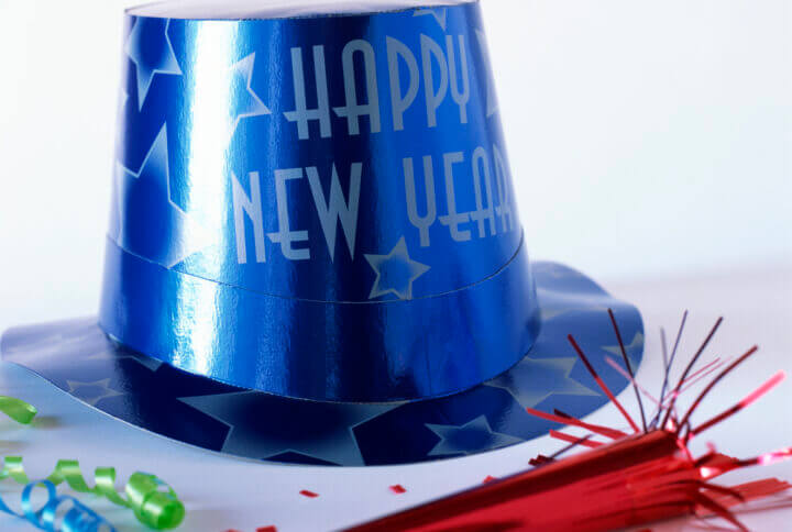happy new year hat with party favors