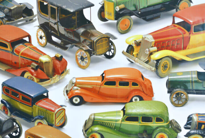closeup of a group of toy cars